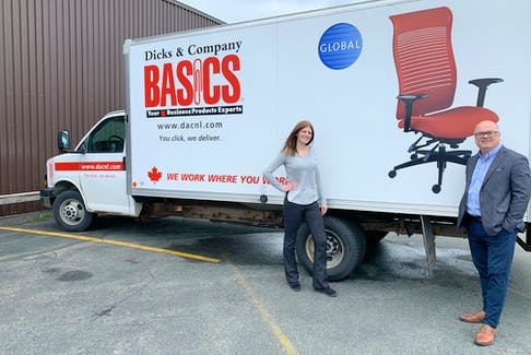 Dicks & Company Basics marketing manager Corina Byrne and president and CEO David Read say the company is now offering home delivery to meet the surge in demand from remote workers with home offices.