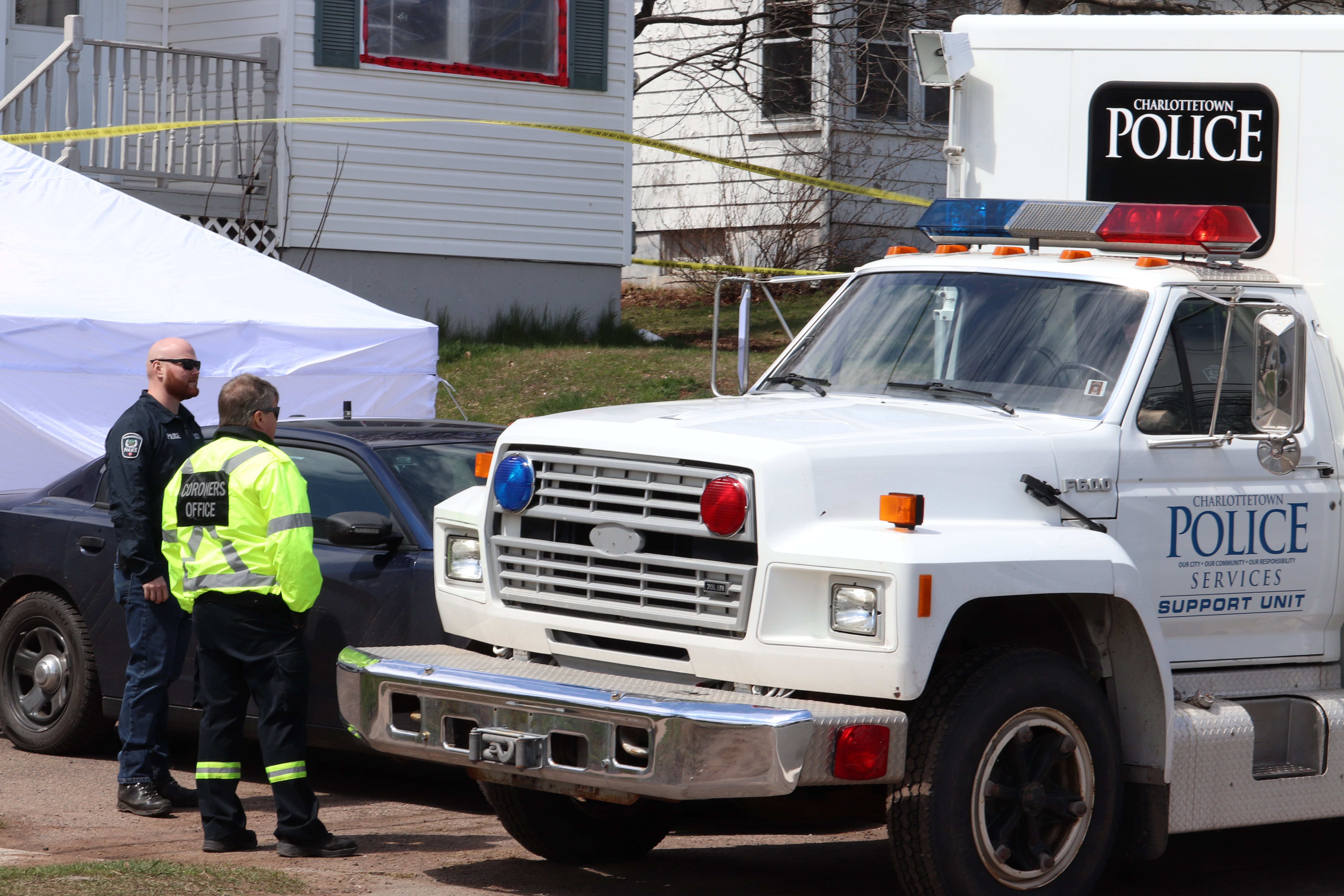 A coroner's vehicle was present at the scene of a suspicious death in Charlottetown on Sunday afternoon along with a forensics unit.