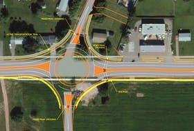 The P.E.I. Department of Transportation and Infrastructure Renewal submitted this Google image to The Guardian showing what the intersection of St. Peters Road and Angus Drive would look like as a roundabout. The province wants to build a road for small vehicles, which is depicted at the top, to access Mel's Convenience Store, located on the right of this image.