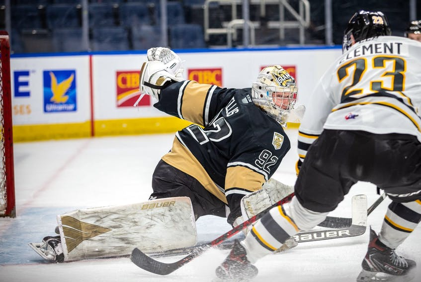 Goaltender Colten Ellis of River Denys stretches to make a pad save on Shawn Element during the Charlottetown Islanders' QMJHL playoff game against the Victoriaville Tigres on Tuesday.