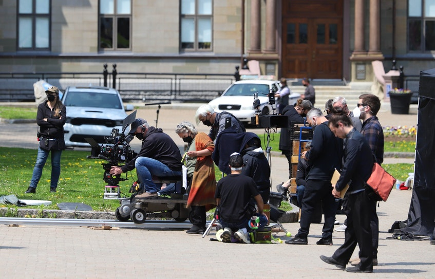 A production crew from the CBC series Diggstown is seen filming in the Grand Parade in Halifax. - Tim  Krochak