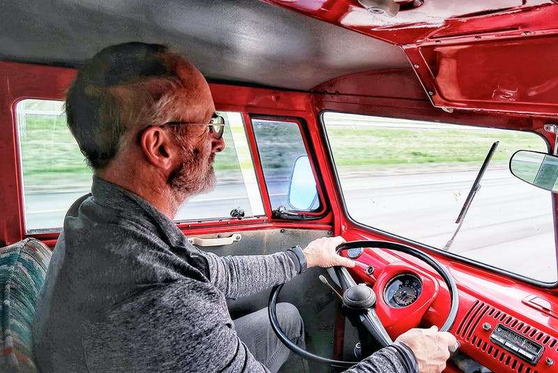 On the road home, Sandy Williamson and his 1964 Volkswagen bus cruise down the highway. Contributed/Sandy and Lisa Williamson     - POSTMEDIA