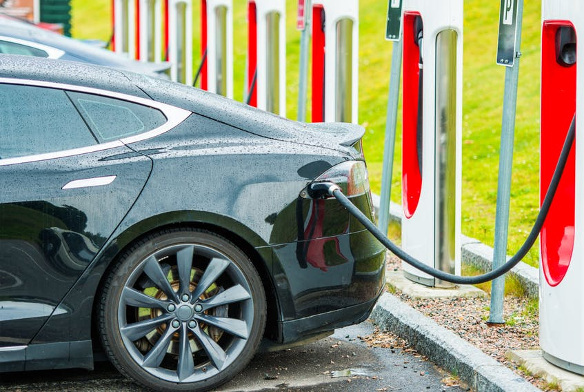 One of the solutions for charging electric vehicles once they become more common might be grid-connected energy storage batteries that use a similar model as gas stations. 123rfstock photo