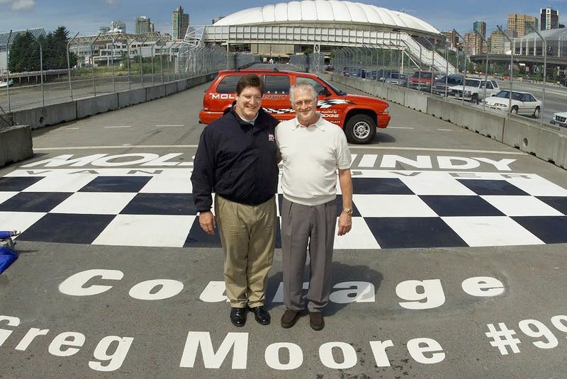 The finish line memorial was unveiled by Ric Moore, right, and Stuart Ballantyne, GM of Molson Indy, at the 2000 Vancouver Indy race. Ian Smith photo - POSTMEDIA