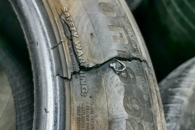 Sidewall bulges and weather cracking can lead to tire blowouts. 123rf stock photo - POSTMEDIA