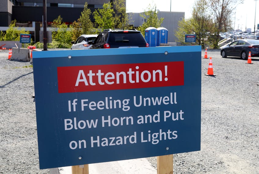The post-vaccine waiting area at the drive-thru COVID-19 facility behind Dartmouth General.