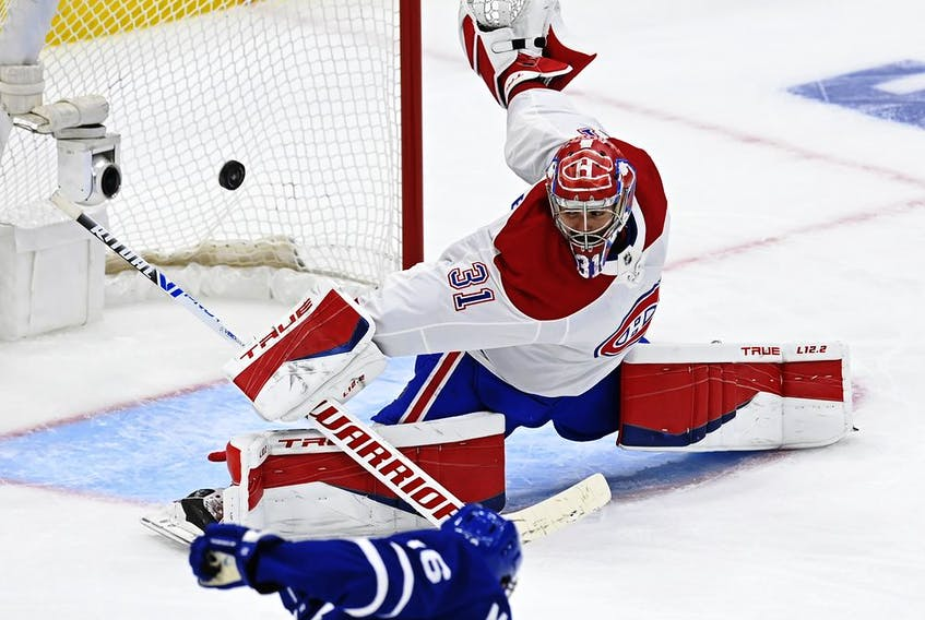 Canadiens goaltender Carey Price absolutely robs Maple Leafs forward Mitch Marner with a blocker save during the third period Thursday night in Toronto.