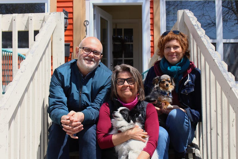 """Robert Chafe, Leah Lewis and Evalyn Parry are longtime friends and collaborators on a new show called """"The Dialysis Project."""" Livestreaming from her home in St. John's, Lewis will perform monologues while self-administering her dialysis treatment."""