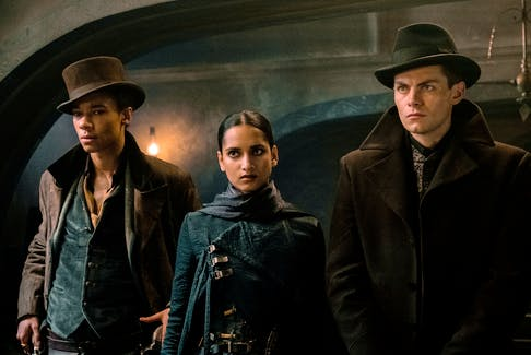 Kit Young, left, Amita Suman and Freddy Carter play a band of thieves in an interesting side-plot that at times steals the show in Shadow and Bone.  - Netflix