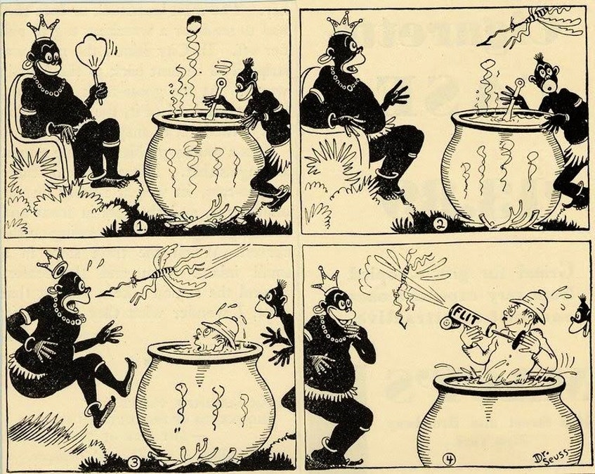 This illustration by Dr. Seuss was part of an ad campaign for FLIT insecticide in 1928.