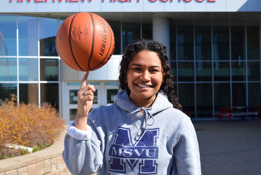Teaonna Carroll of Sydney will suit up for the Halifax-based Mount Saint Vincent University Mystics women's basketball team for the 2021-22 Atlantic Collegiate Athletic Association season. The 18-year-old played her high school basketball at Riverview High School in Coxheath. JEREMY FRASER • CAPE BRETON POST