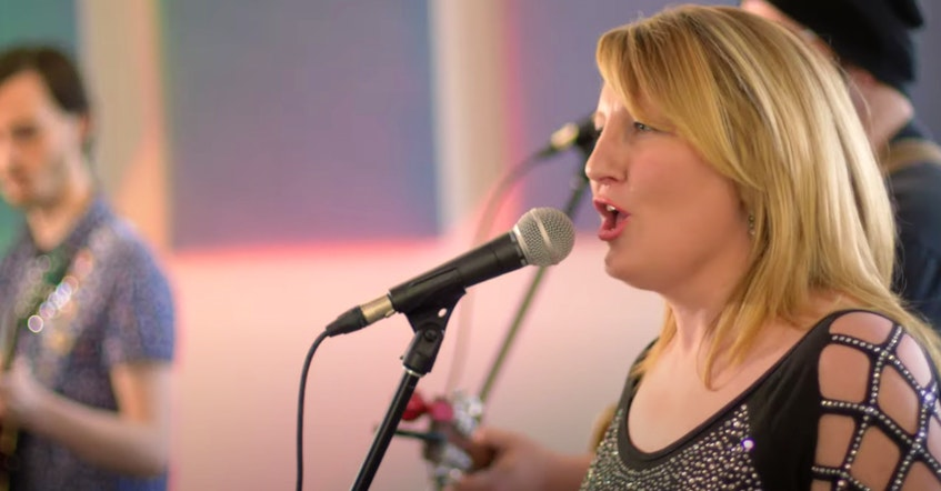 """Erin O'Brien of Suite 115 sings lead vocals for the song """"We'll Be Together Again,"""" recorded by students of NSCC's music arts program. CONTRIBUTED - Contributed"""