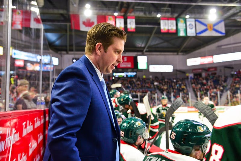 Sylvain Favreau instructs members of the Halifax Mooseheads during his time as an assistant coach. - Halifax Mooseheads