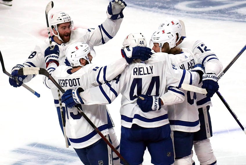 Toronto Maple Leafs centre William Nylander (88) celebrates his goal with teammates during Game 3 of the first round of the Stanley Cup Playoffs at Bell Centre.
