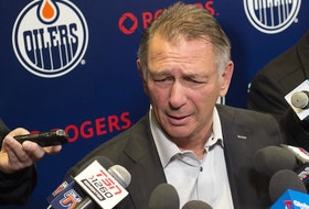 Edmonton Oilers GM Ken Holland speaks to the media in this file photo from Feb. 10, 2020.