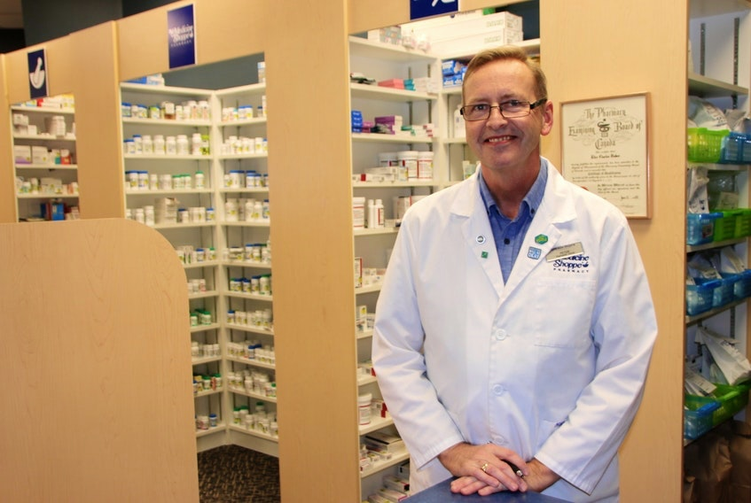 """""""At a small pharmacy like this, we're not just here to hand out pill bottles. We're here to dispense advice,"""" says Peter Bakes, pharmacist and owner of The Medicine Shoppe in the Truro Mall. - Photo Courtesy Saltwire."""
