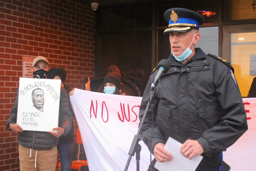 Cape Breton Regional Police Chief Robert Walsh addresses the crowd at the Take a Knee to Make a Stand rally for Black Lives Matter at regional police headquarters in Sydney on June 3, 2020. FILE PHOTO/CAPE BRETON POST