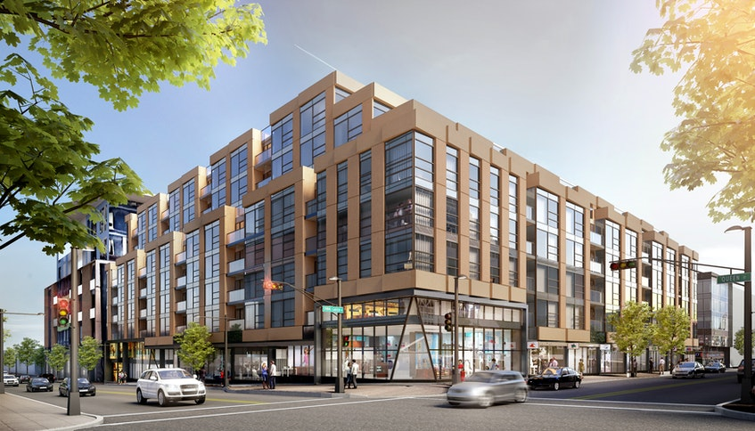 A rendering of the proposed redevelopment on the former Mills Brothers site on Spring Garden Road in Halifax.- Contributed