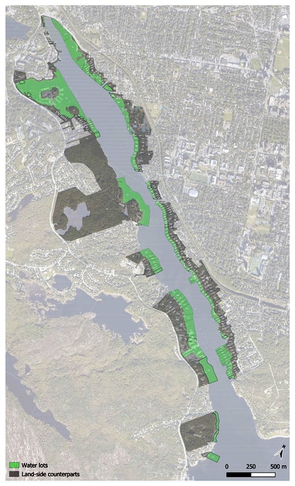 """Northwest Arm """"water lots"""" appear in green. If they were all infilled, it would have a huge impact. - Ecology Action Centre"""