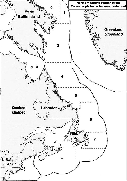 A map of the Department of Fisheries and Oceans' shrimp-fishing areas. — DFO