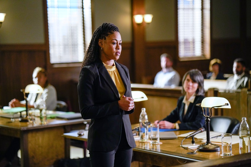 Diggstown star Vinessa Antoine faces off against a Crown prosecutor played by Halifax actor Genevieve Steele in the upcoming third season of the CBC legal drama. - Dan Callis/CBC