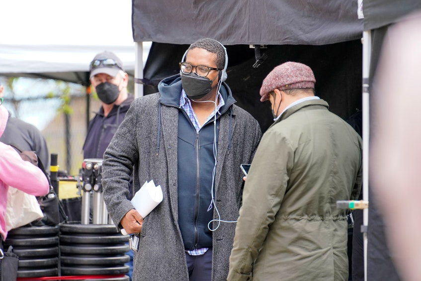 Diggstown creator, producer and showrunner Floyd Kane confers with director Cory Bowles on the Halifax set of the CBC legal drama, now in production for its third season. - Dan Callis/CBC