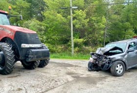 Grenville OPP said one person was taken to hospital with serious injuries after a crash between an SUV and a tractor on Wednesday.