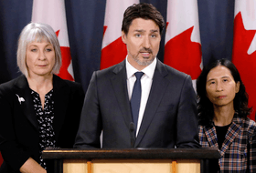 Health Minister Patty Hajdu, Prime Minister Justin Trudeau and Chief Public Health Officer Dr. Theresa Tam on March 11, 2020.
