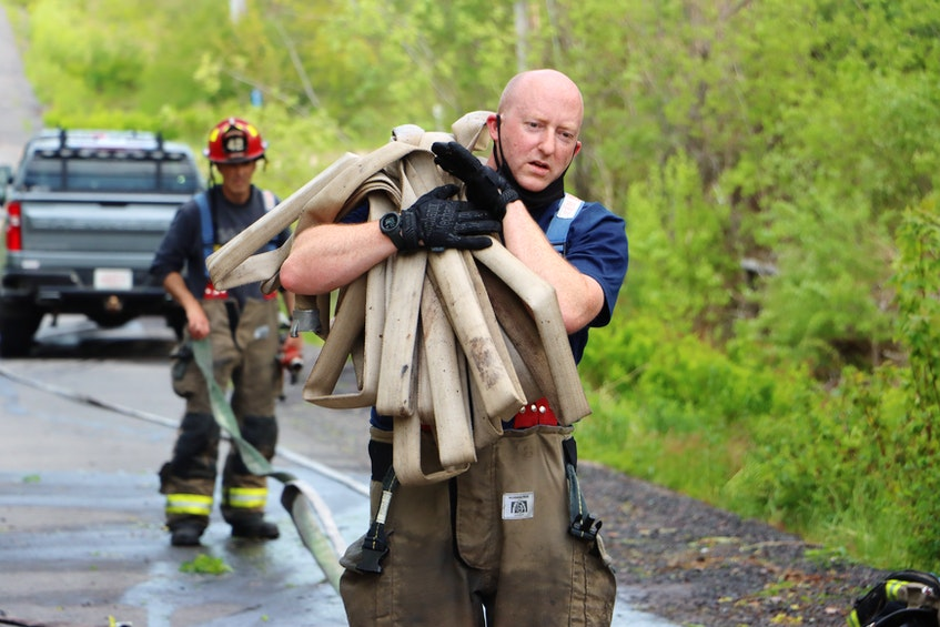 The Kingston District Fire Department prevented a woods fire that was noted along Greenwood Road on May 25 from spreading on a windy afternoon. – Adrian Johnstone - Contributed