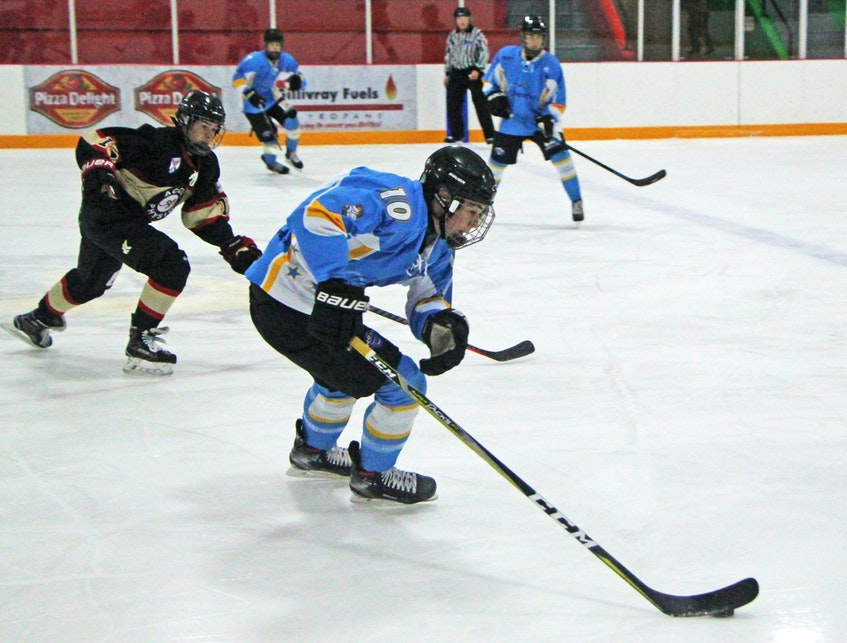 Tyler Peddle of Antigonish, a projected top five pick in this year's QMJHL Entry Draft, was selected in the third-round of the United States Hockey League Entry Draft by Sioux City. Peddle is pictured with The Novas of the Nova Scotia Under-15 Major Hockey League last season. SALTWIRE NETWORK - SaltWire Network File Photo
