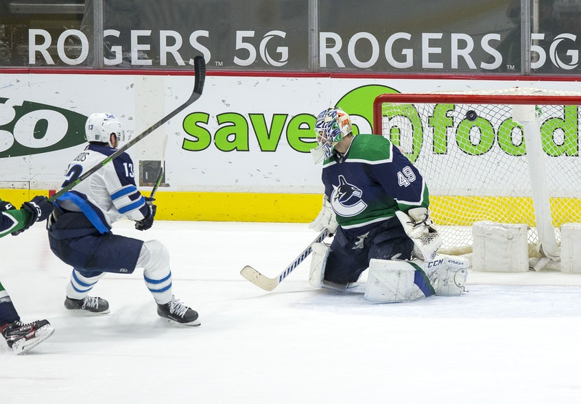 Pierre-Luc Dubois, middle, and the Winnipeg Jets will play in the second round of the NHL playoffs. The former Cape Breton Eagle has two assists in three playoff games this season. Contributed • Bob Frid, USA TODAY Sports - REUTERS