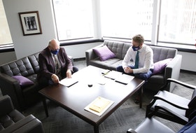 FOR NEWS STORY: Nova Scotia Premier Iain Rankin and Dr. Robert Strang, the chief medical officer of health, left, confer before their news conference on COVID19 in Rankin's office Friday May 28, 2021.  TIM KROCHAK PHOTO