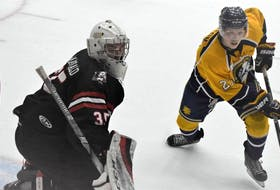 Truro Bearcats goaltender Alec MacDonald and Yarmouth Mariners centre Cam Patton in Maritime Hockey League action from last season.