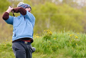 Curtis Martell watches his tee shot Saturday as he began play in the Andersons Creek Open.