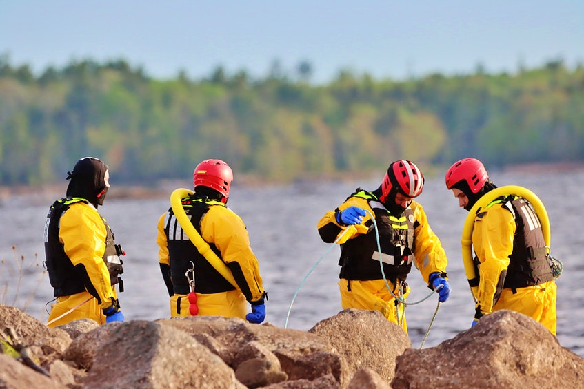 About 20 firefighters in total, members of the departments in both Kentville and New Minas, responded to the water rescue at Gaspereau Lake Friday evening. – Adrian Johnstone - Contributed