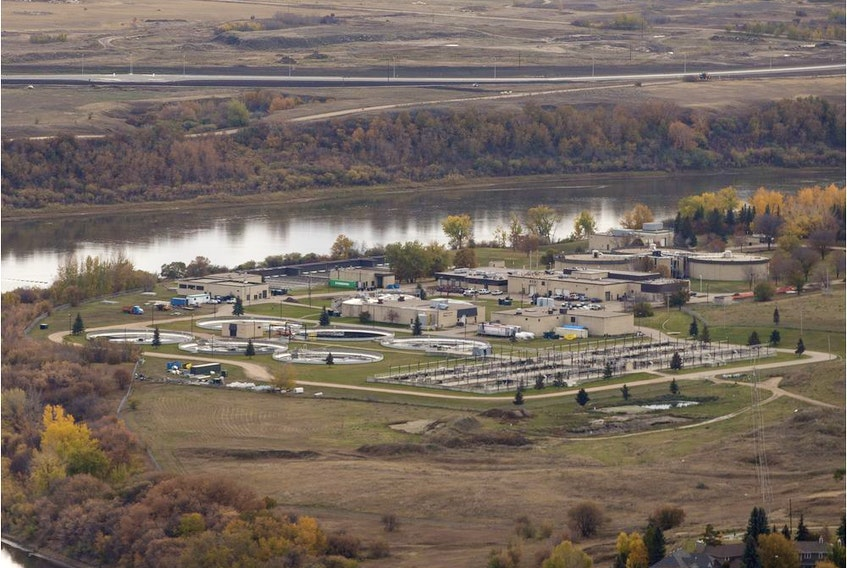 Saskatoon's wastewater treatment plant is seen on Tuesday, October 2, 2018, in this aerial photo.  An analysis of wastewater in April suggested a surge in COVID-19 cases was coming in Saskatoon, but scientists are now stumped to explain why it never happened.