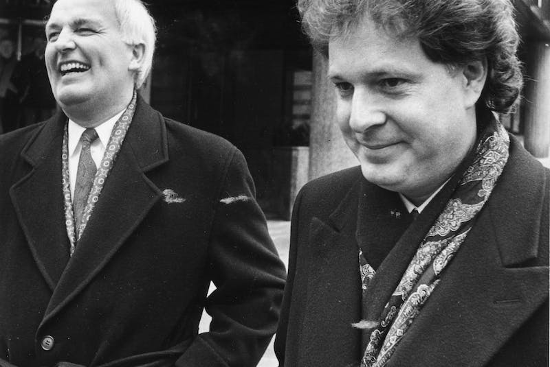Premier Donald Cameron and federal Tory leadership candidate John Charest walk along Hollis Street during Charest's Halifax visit March 26, 1993. - Peter Parsons