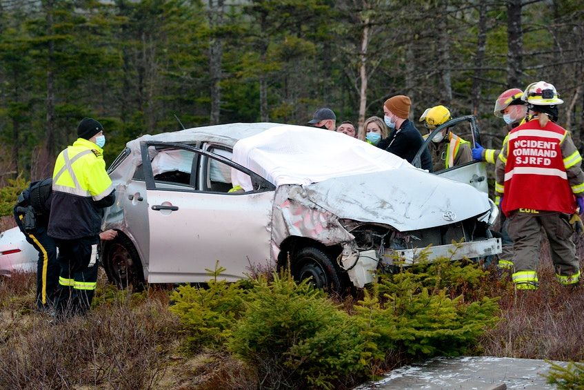 One man was sent to hospital following a single-vehicle rollover on the T.C.H. Monday night near Foxtrap. Keith Gosse/The Telegram
