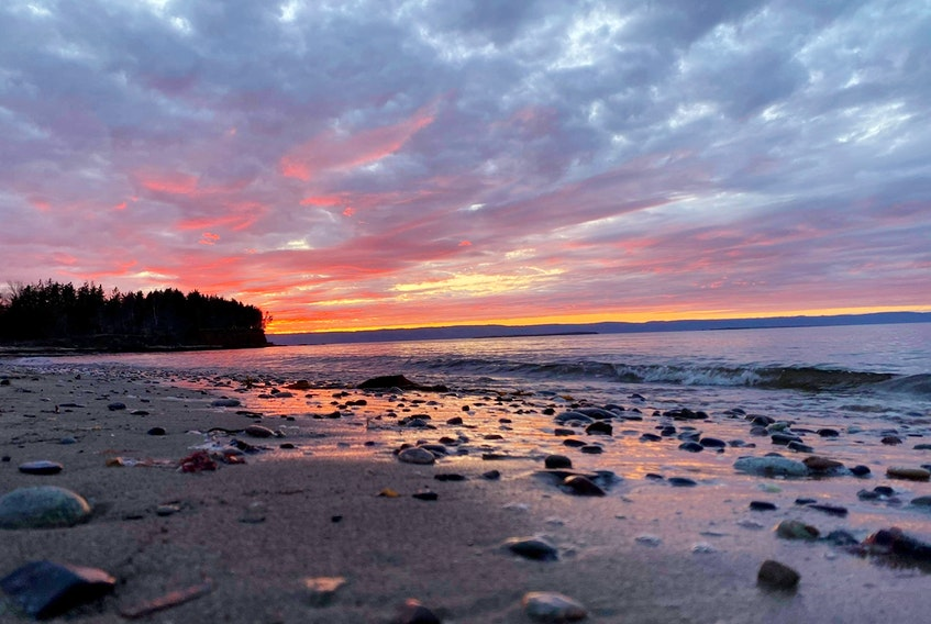 The tide was out, and the sun had dipped below the horizon when Jess Boudreau snapped this magical photo in Point Aconi, Cape Breton. The late-day light bouncing off the mottled clouds created a pretty pastel palette.  Thank you for this colourful photo, Jess.