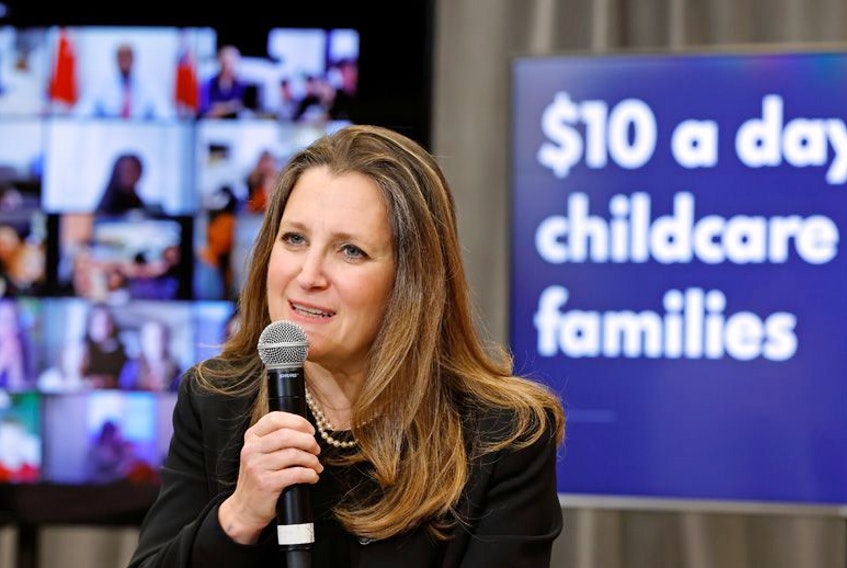 Finance Minister Chrystia Freeland talks to families virtually about $10 a day childcare after the Federal budget last week.