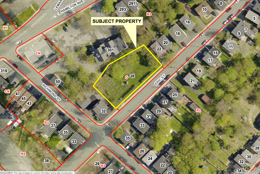 A map, provided by the City of St. John's, shows the area of Eric Street where a green space will be the site of a Habitat for Humanity project to build three townhouses for working low-income families.