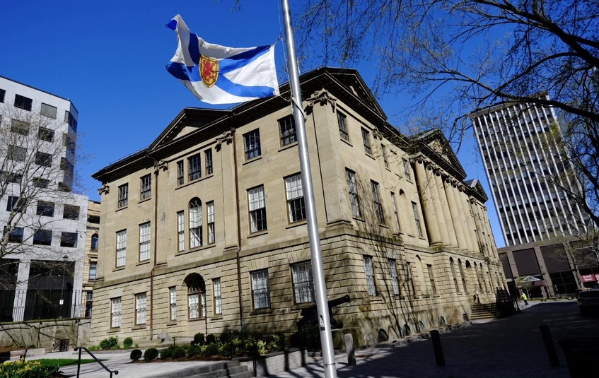 Nova Scotia's flag flies at half-mast outside Province House in downtown Halifax on Monday, May 3, 2021 to mark the death of former premier Donald Cameron. - Tim  Krochak