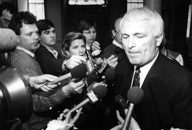 PEOPLE - DON CAMERON - NOVA SCOTIA PREMIER - Premier Donald Cameron faces questions from the media on May 25, 1992 Peter Parsons Photo