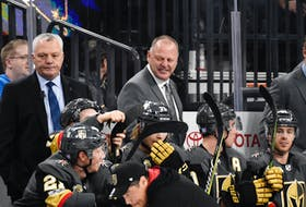 Mike Kelly, left, and Gerard (Turk) Gallant behind the bench of the Vegas Golden Knights. Gallant, who was head coach, and Kelly, an assistant coach, were with the National Hockey League team from 2017 to 2020. - Photo Courtesy Vegas Golden Knights