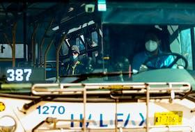 FOR NEWS: A passenger waits to depart aboard a bus at the Halifax Metro Transit Bridge Terminal in Dartmouth Monday May 3, 2021.  TIM KROCHAK PHOTO
