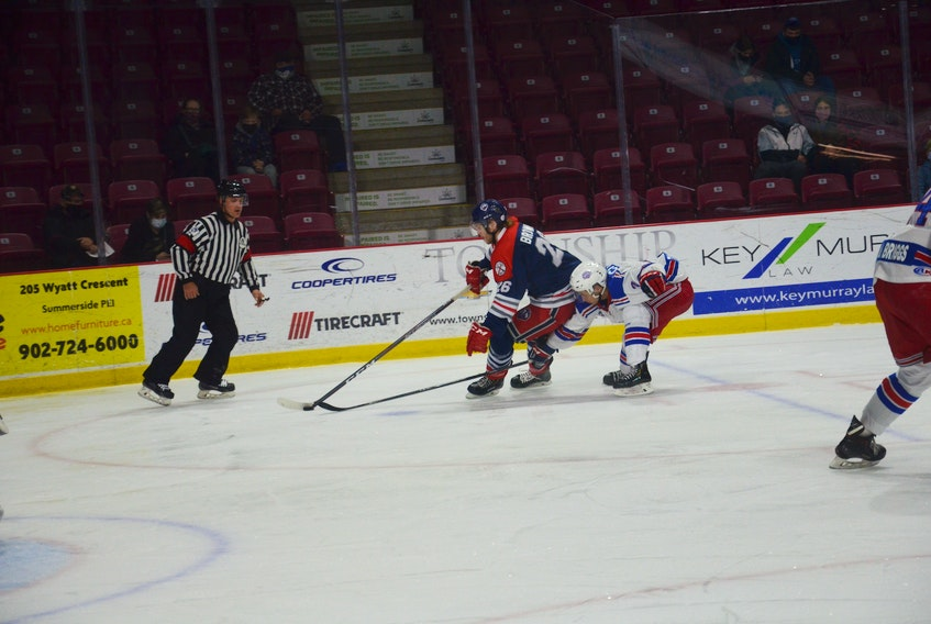 Summerside D. Alex MacDonald Ford Western Capitals defenceman Theo Citrullo defends against the South Shore Lumberjacks' Cameron Brown during a Maritime Junior Hockey League (MHL) regular-season game at Eastlink Arena.