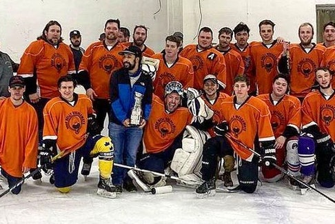 The Mighty Drunks took home the Cape Breton Gentlemen's Hockey League 'C' Division championship, defeating the Governor's Generals in six games recently. Members of the team include, from left, front row, Trevor Selvet, Jaden Martin, Noah Larose, Ricardo Rizzo, Tyler Theriault, Troy O'Neil and Matt Riley; back row, Sheldon Stubbard, Chad Dixon (coach), Dominic Therrien, Jayme Rizzo, Matt O'Brien, Corey Bates, Justin Baillie, Adam Campbell, Gavin MacQueen, Brayden Boutilier, Andrew Battiste, Zack Clarke, Matt Spencer and Mitch Doucette. Also a member of the team is Chris Stanley. CONTRIBUTED • MICHAEL MACDONALD