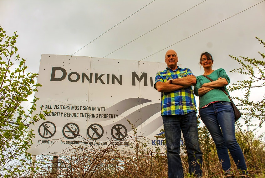 Michael Fergusson, left, and Catherine Fergusson are leaders of the Cow Bay Environmental Coalition, which was formed in the wake of noise and methane pollution coming from the idled Donkin mine. JESSICA SMITH • CAPE BRETON POST