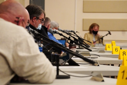 Three Rivers councillors gathered during a committee of council meeting at Kings Playhouse in Georgetown in April.