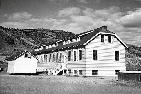 A new classroom building at the Kamloops Indian Residential School is seen in Kamloops, B.C., circa 1950.